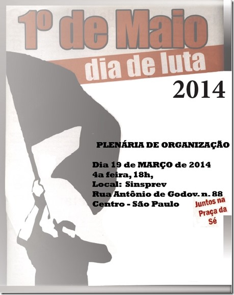 Plenária para organizar o 1 de Maio